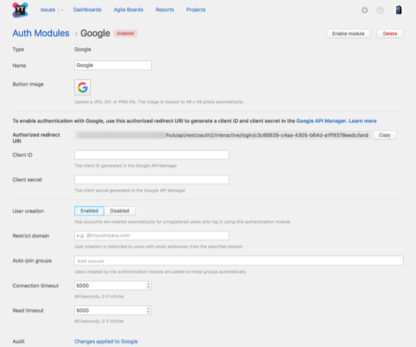 Google auth module enabled
