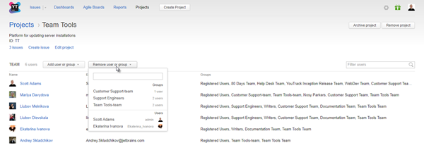 project profile team management