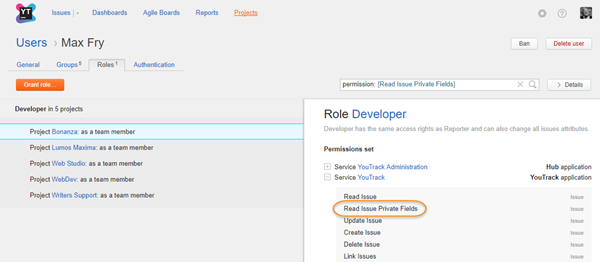user roles filtered