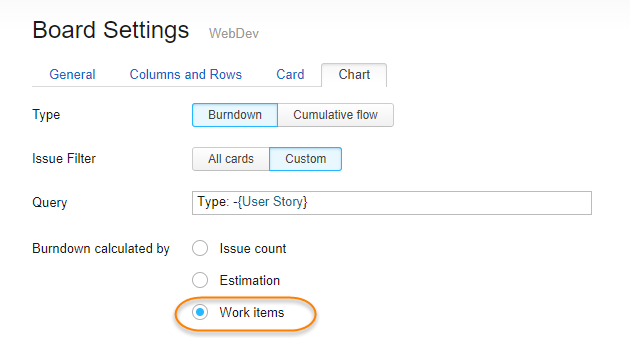 burndown calculation settings