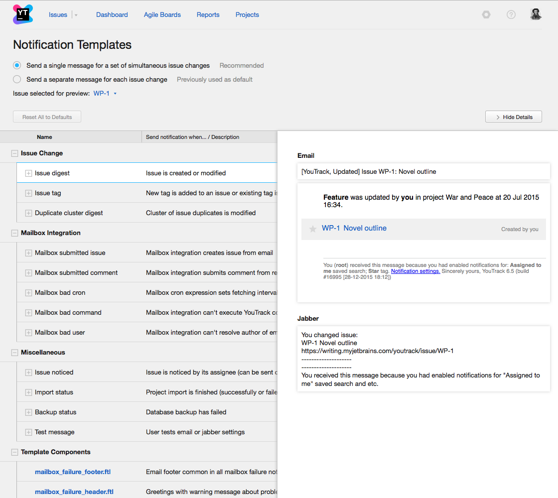 notification templates help youtrack incloud