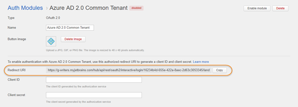 azure auth common tenant redirect uri