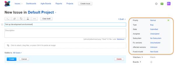 default fields default project