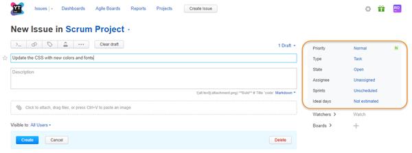 default fields scrum project