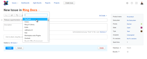 new create issue project selector