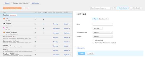 new tag sidebar