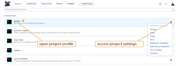 project list actions