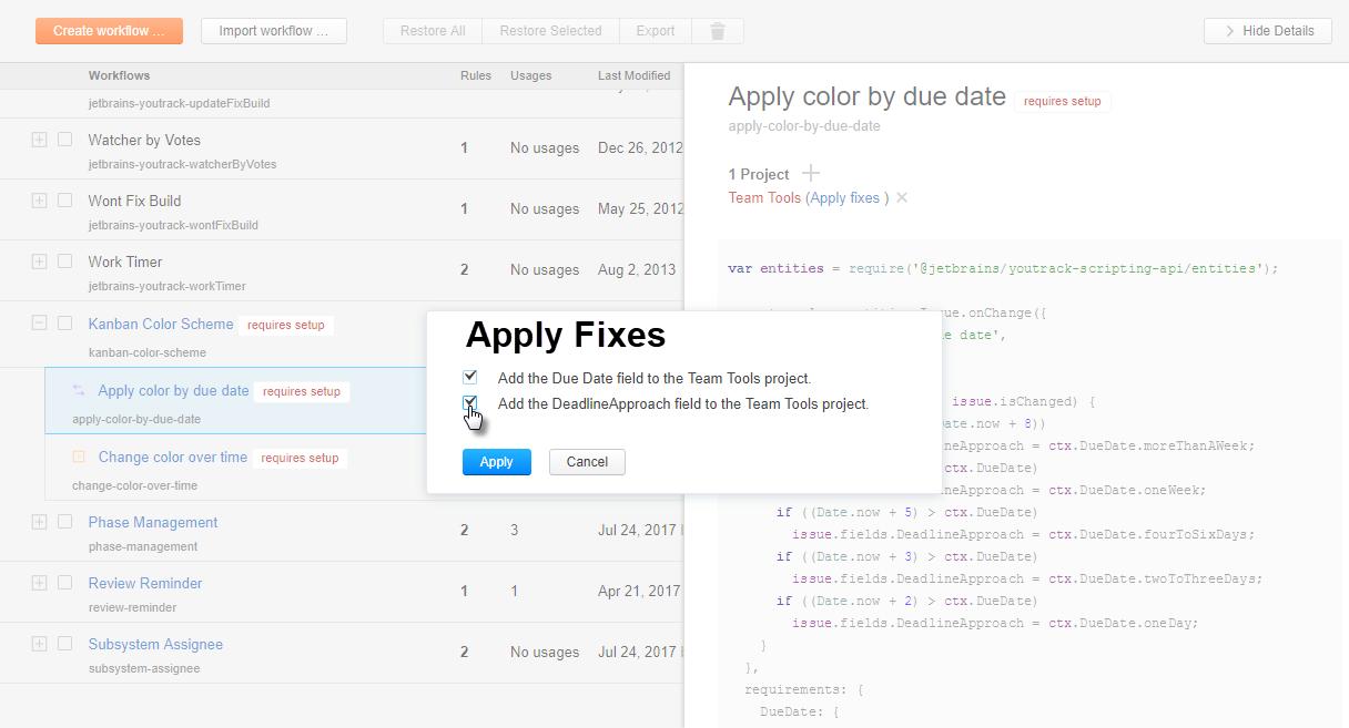workflow tutorial apply fixes