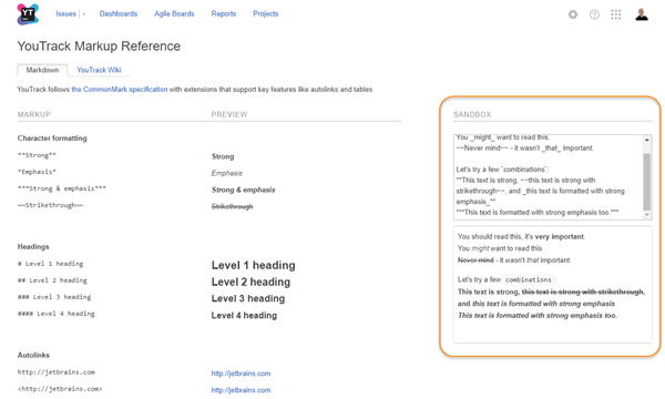 youtrack markup reference markdown
