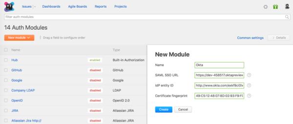 yt okta idp create new auth module