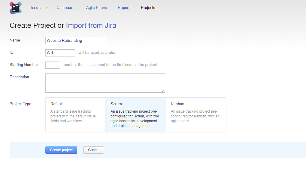 Project Templates - Help | YouTrack Standalone