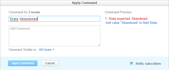 Add value in command dialog
