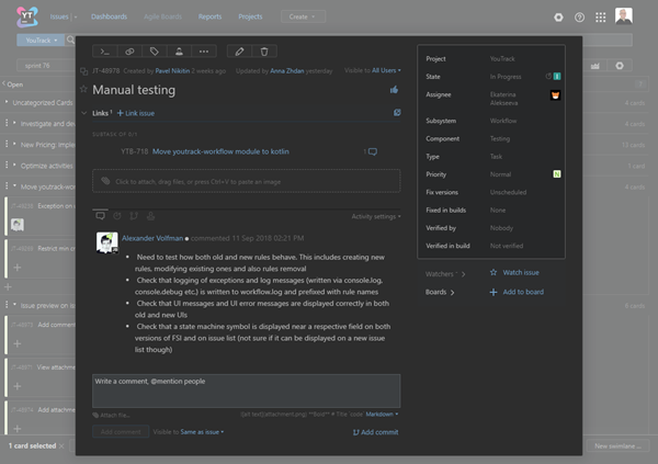 Agile board dark theme