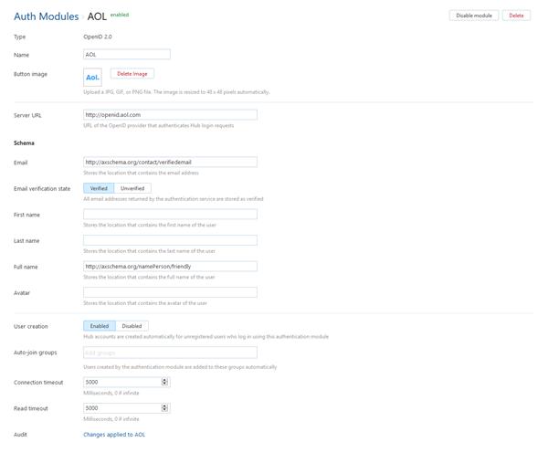 AOL auth module settings