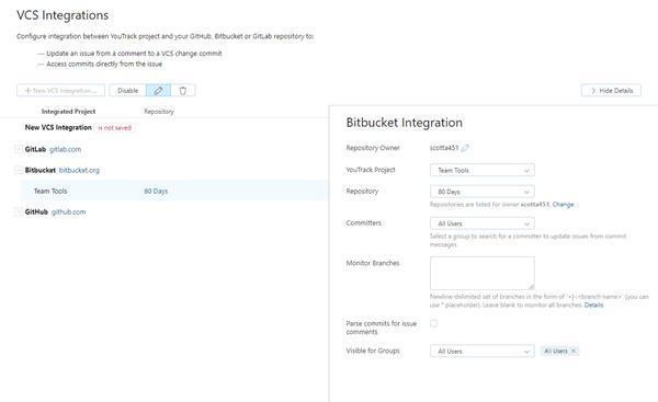 Bitbucket integration saved