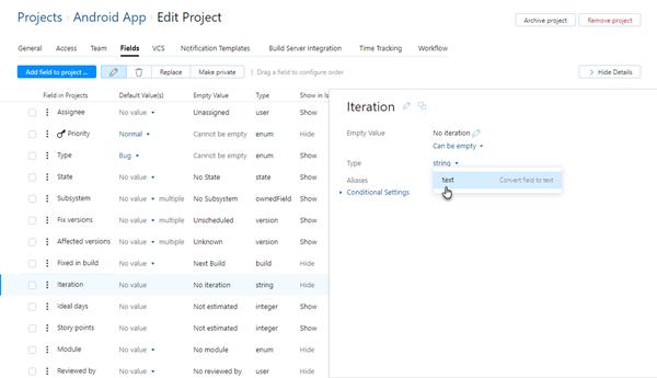 change field type in project