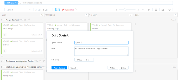 Epics edit sprint development