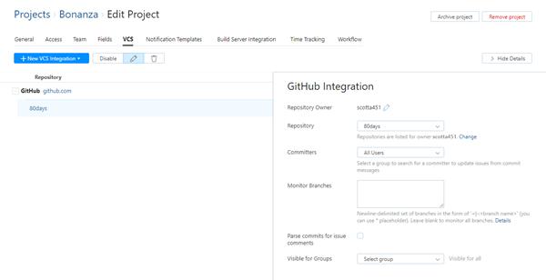 GitHub integration saved