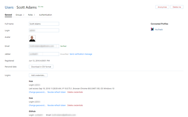 Hub account general settings