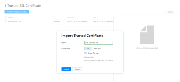 import trusted certificate for VCS server