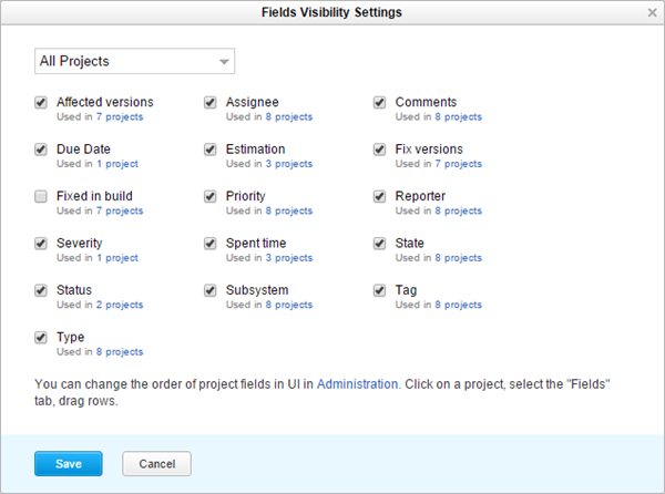 Issue fields visibility