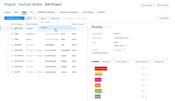 Replace custom field in project