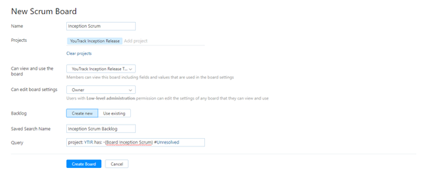 Scrum tutorial board config