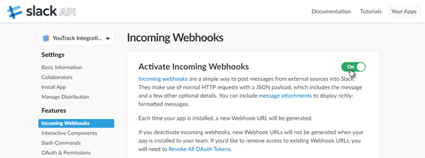 Slack integration incoming webhooks