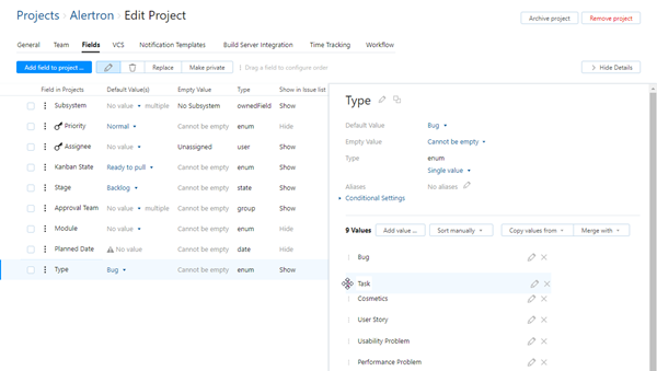 Update manual sort order in project
