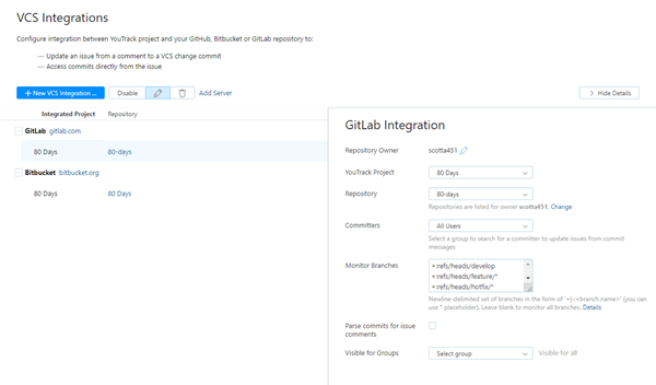 VCS integrations
