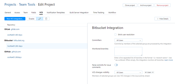 Bitbucket integration settings