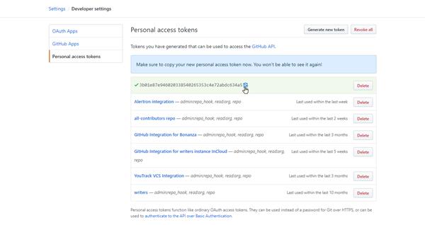 copy token in GitHub