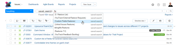 Execute saved search from search box