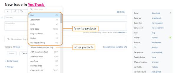 favorite projects in project field