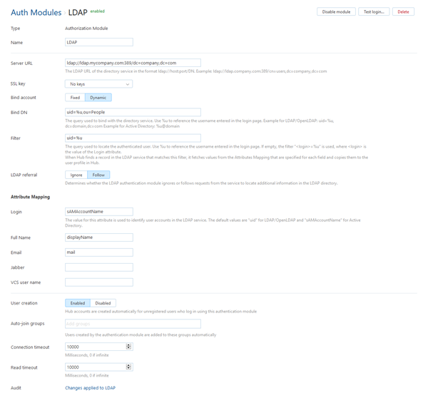 Ldap auth module settings