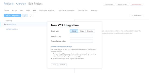 new GitHub VCS integration