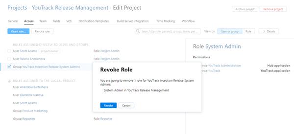 Project access revoke role