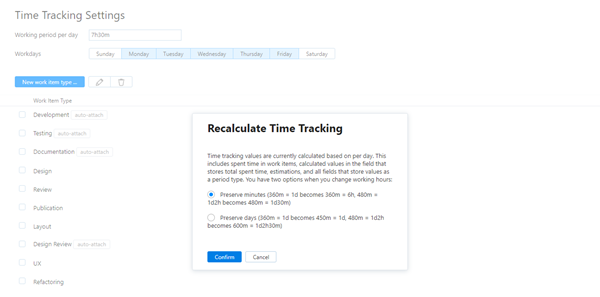 Recalculate time tracking