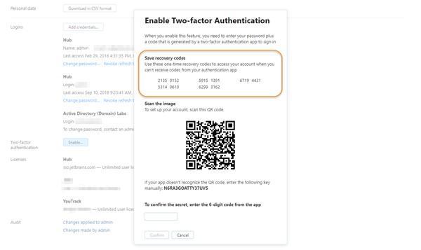 Two factor authentication recovery codes