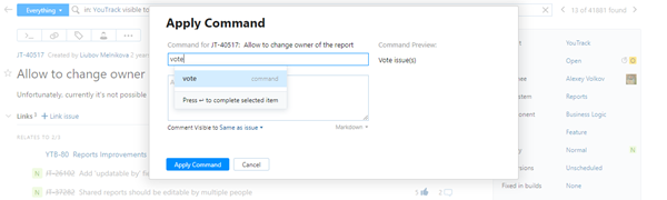 Vote issue command
