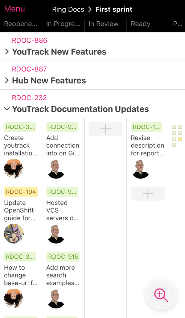 YouTrack mobile agile boards view