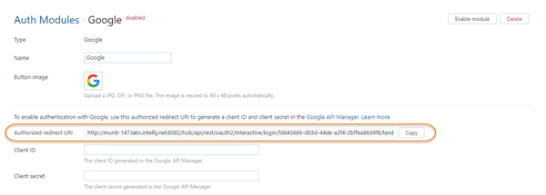Google auth module settings