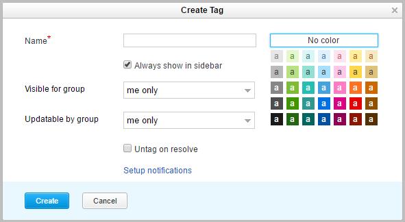 Create tag dialog