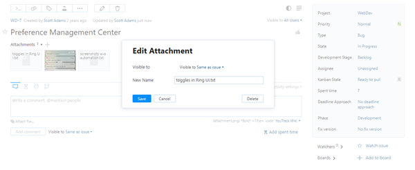 Edit attachment dialog
