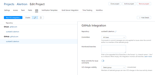 GitHub integration settings