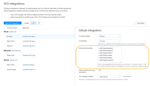 Monitored branches in VCS integration settings