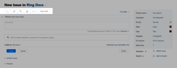 New create issue toolbar