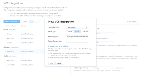 new GitLab VCS integration