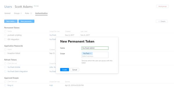 New permanent token dialog