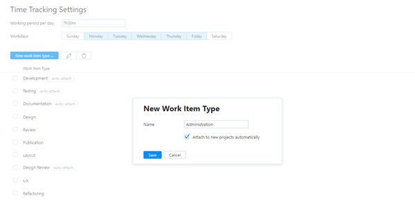 New work item type dialog